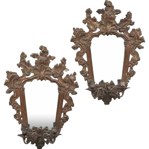 Pair of Italian Baroque Mirrored Copper and Pine Two-Light Sconces