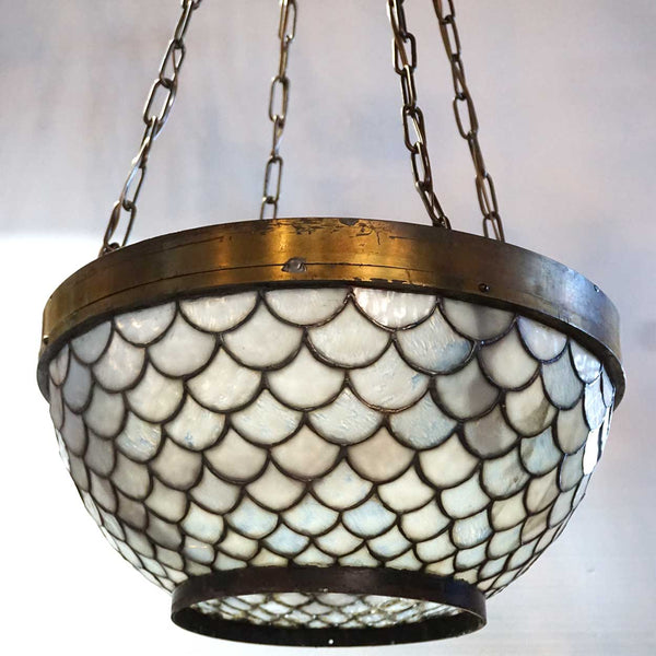 American Brass Mounted Leaded Glass Bowl Four-Light Pendant Light Fixture