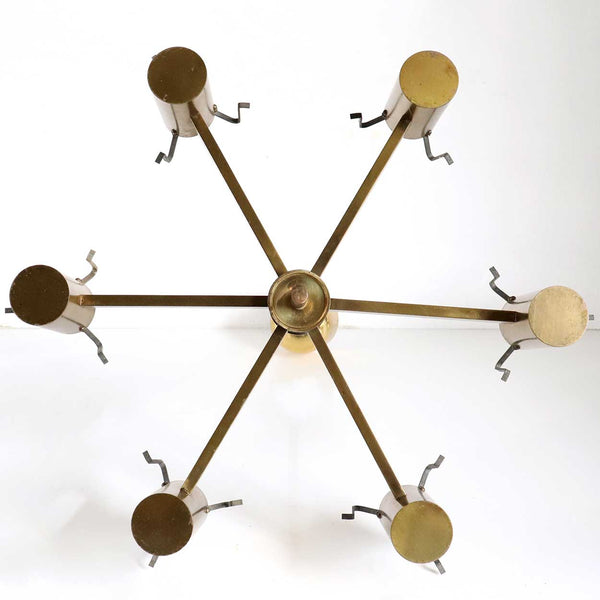 Vintage Swedish CARL FAGERLUND for Orrefors Glass and Brass Six-Light Chandelier