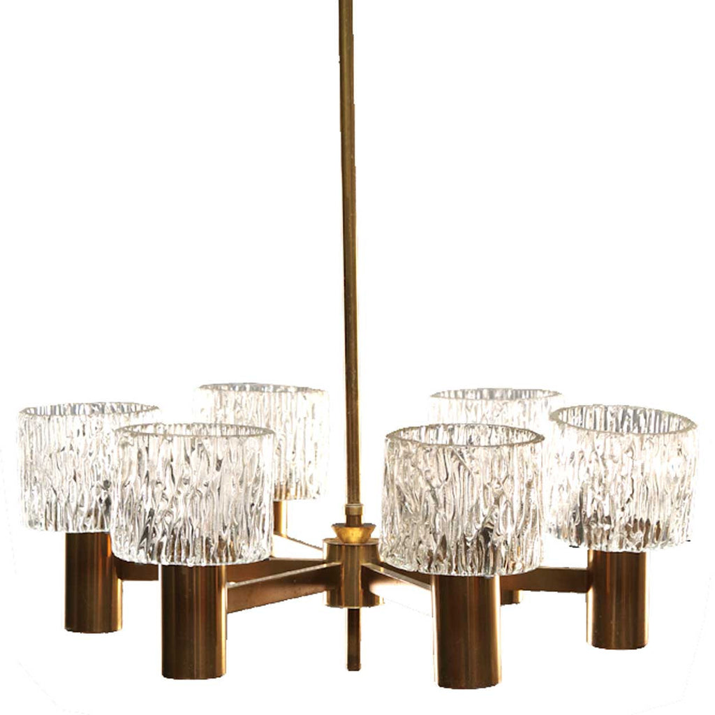 Vintage swedish brass and glass shade six light chandelier swedish carl fagerlund for orrefors glass and brass six light chandelier arubaitofo Choice Image