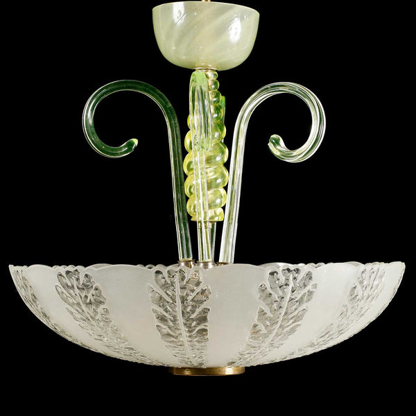 Swedish Art Deco Etched Glass Bowl Ceiling Light Fixture