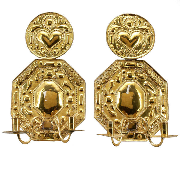 Pair of Swedish Baroque Style Brass Repousse Two-Light Sconces