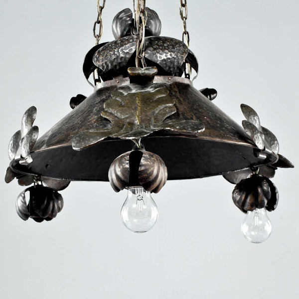 Swedish Jugendstil Hammered Brass Four-Light Pendant Hanging Light Fixture
