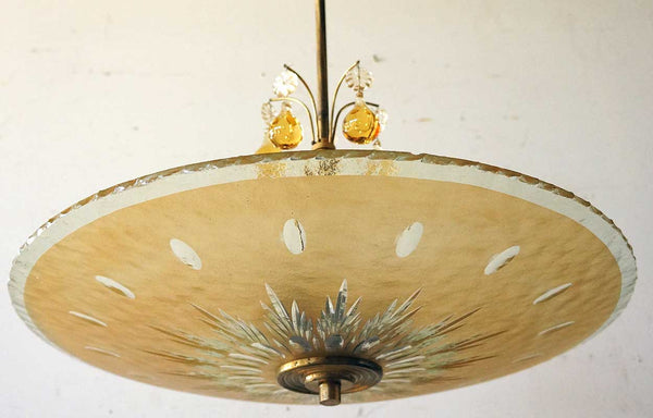 Swedish Orrefors Glass Bowl Shade and Drops Ceiling Pendant Light