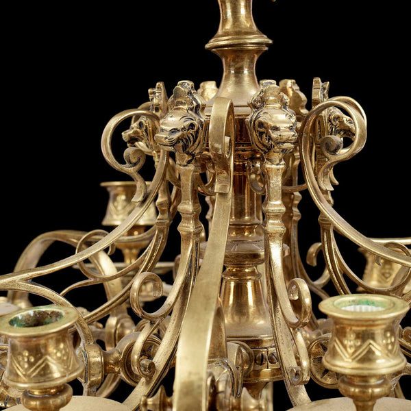 French Louis XIV Style Brass Six-Candlearm Chandelier