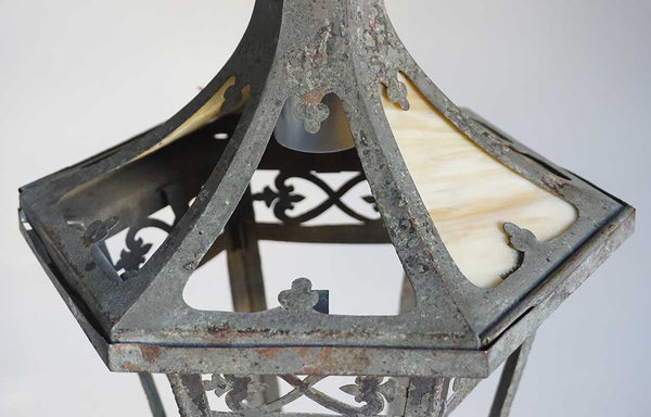American Arts and Crafts Brass Hexagonal Hanging Pendant Lantern