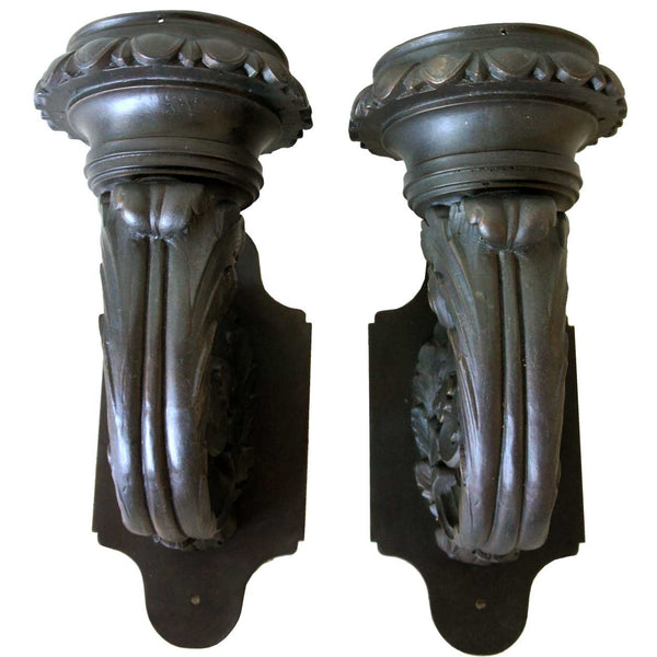 Pair of American Neoclassical Chicago Bronze Obelisk 1-Light Sconces