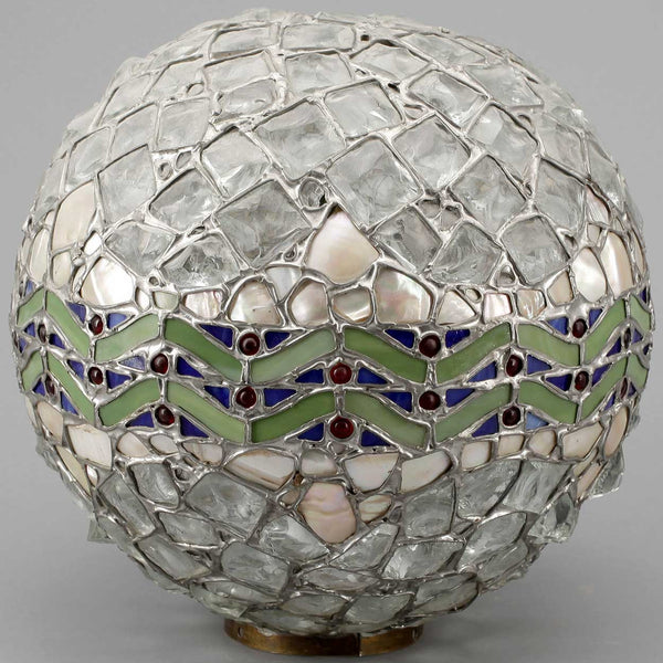 Swedish Jugendstil Mosaic Glass Globe Light Shade