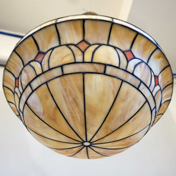 American Arts and Crafts Leaded and Slag Glass Hanging Bowl Four-Light Pendant Light