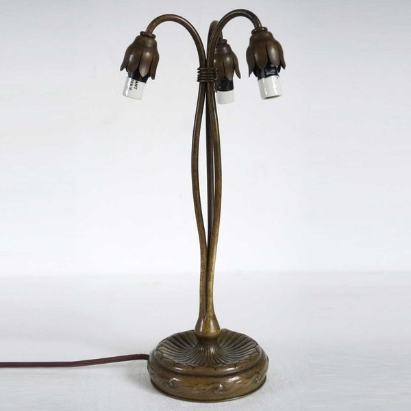 American Tiffany Studios Art Nouveau Bronze Three-Light Lily Table Lamp