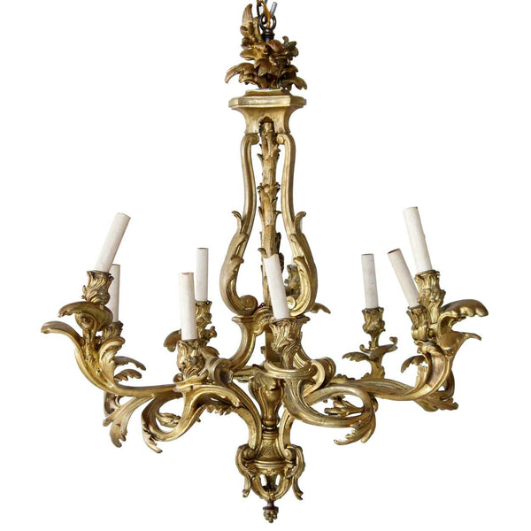 French Rococo Revival Gilt Bronze Nine-Light Chandelier
