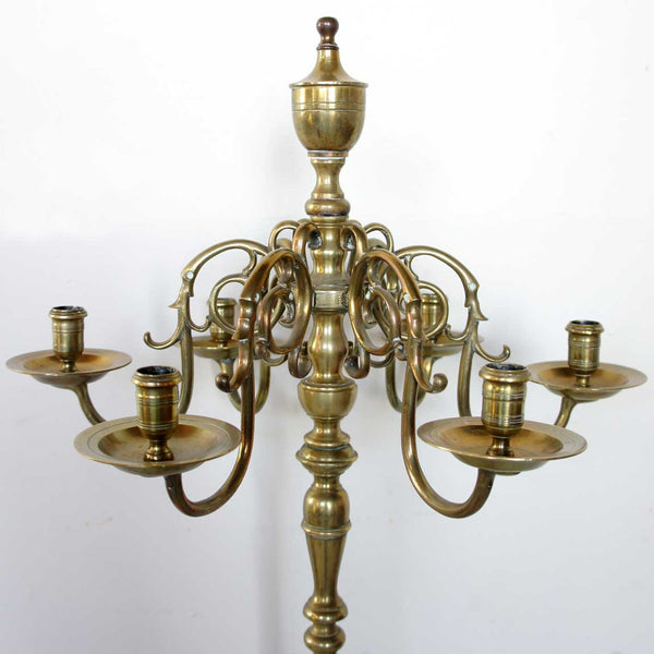 Swedish or Dutch Brass Six-Light Floor Candelabra