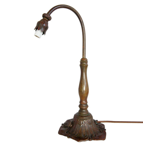 American Tiffany Furnaces Bronze One-Light Lily Table Lamp