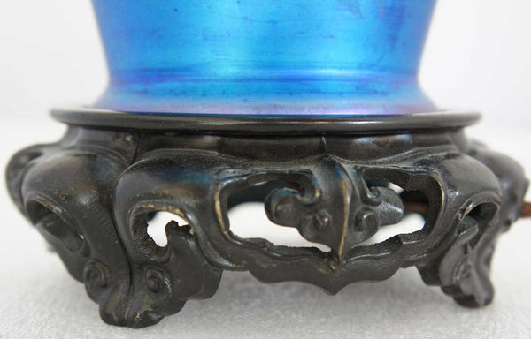 American Durand Bronze and Blue Art Glass Table Lamp