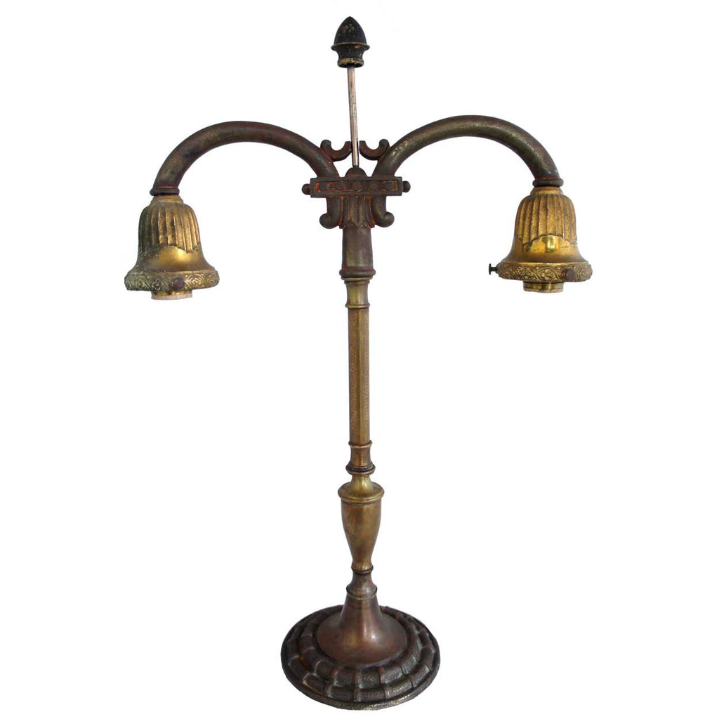Antique american rembrandt brass and cast iron two light student american rembrandt brass and cast iron two light student table lamp greentooth Gallery
