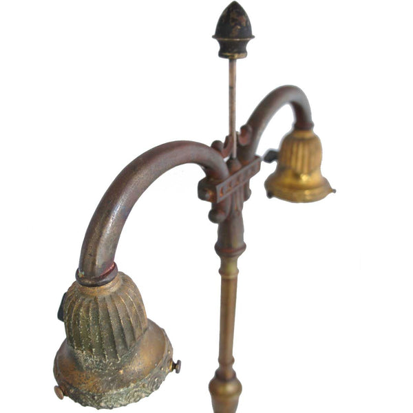 American Rembrandt Brass and Cast Iron Two-Light Student Table Lamp
