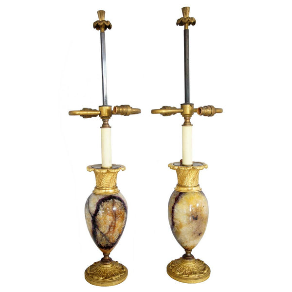 Pair of English Blue John/Derbyshire Spar and Ormolu Table Lamps
