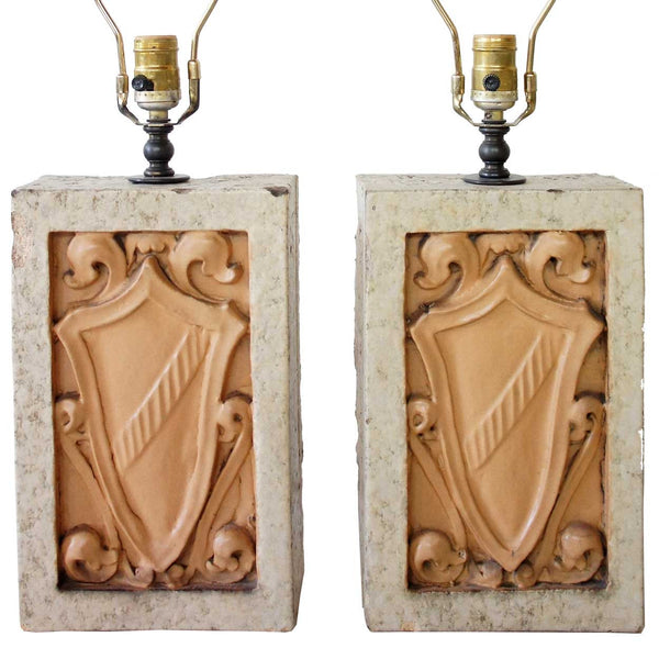 Pair of Architectural Salvaged Glazed Terracotta Plaques as Table Lamps