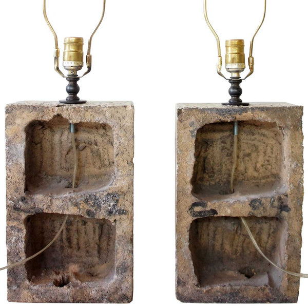Pair of Architectural Painted Terracotta Plaques as Table Lamps
