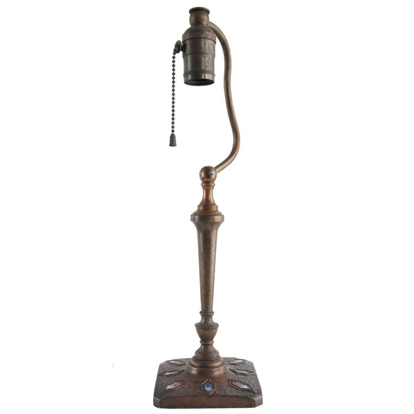 American L.H. Nash Metal Arts Bronze and Enameled One-Light Table Lamp Base