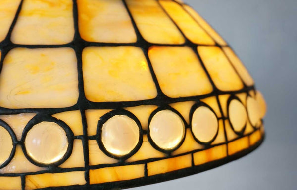 American Tiffany Studios Favrile Opalescent Jewelled Glass Geometric Table Lamp
