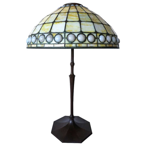 American Tiffany Studios Favrile Glass Geometric Table Lamp Shade