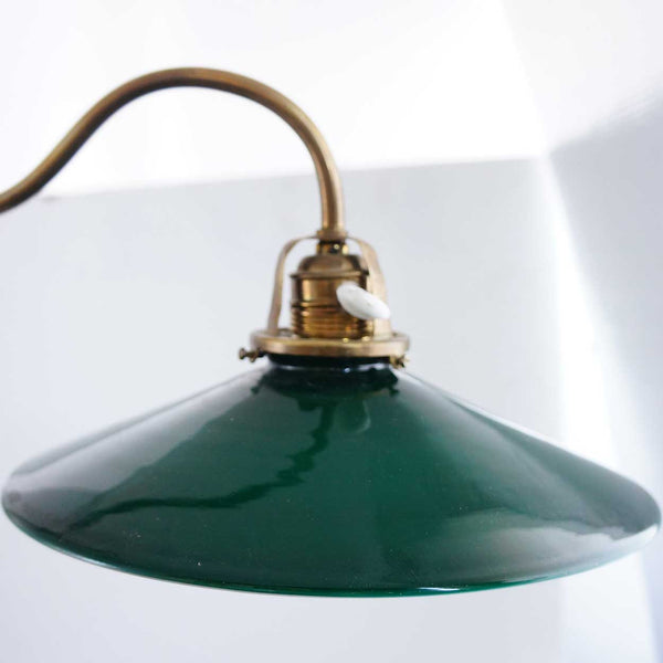 English Brass and Green Shade Adjustable Table Lamp