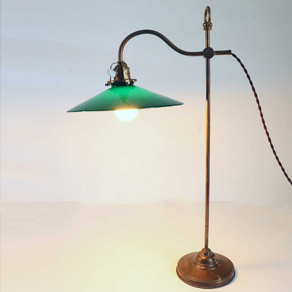 English Victorian Green Shade Brass Gooseneck Adjustable One-Light Table Lamp