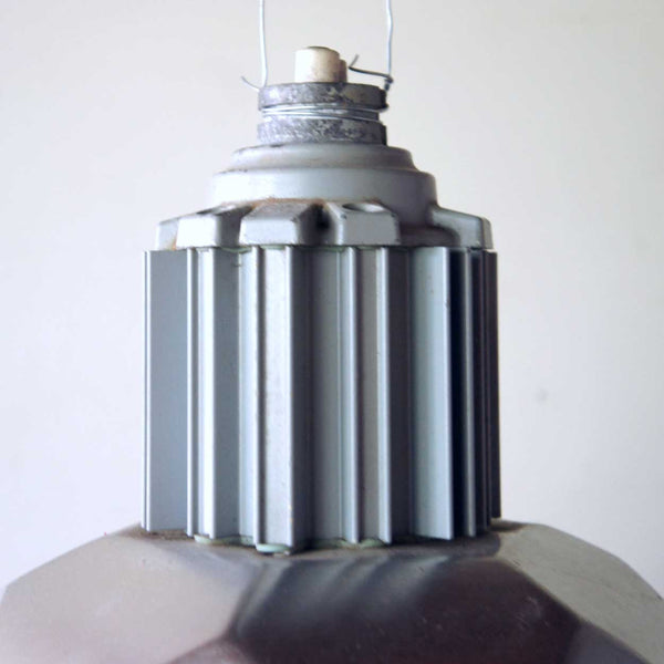 Small Vintage American Industrial Aluminum Six-Sided Pendant Light