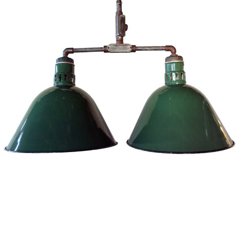 American Industrial Green Porcelain Double Hanging Lamp