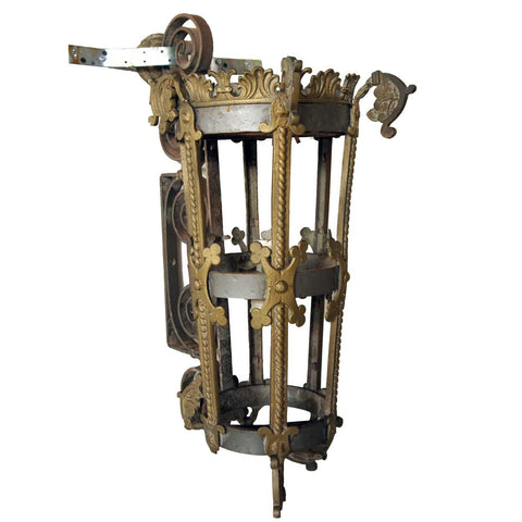 Large American Gothic Revival Iron and Brass Two-Light Bracket Lantern Sconce