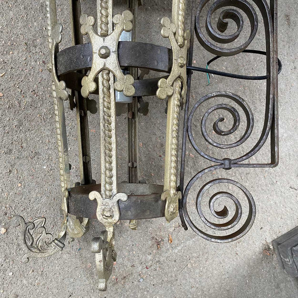 Large Argentine Wrought Iron and Painted Bronze Two-Light Bracket Lantern Sconce