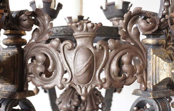 Large American Renaissance Revival Copper, Brass and Hand Wrought Iron Chandelier