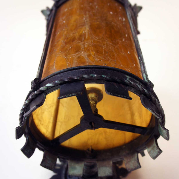 American Bronze and Amber Glass Exterior Sconce