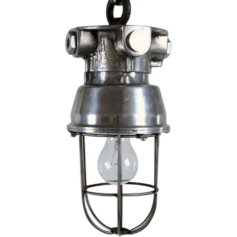 Small Vintage Style Industrial Aluminum Caged Ceiling Pendant Light