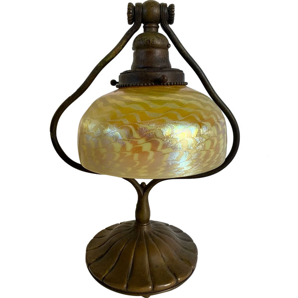 American Tiffany Studios Gold Damascene Favrile Glass and Bronze Harp Desk Lamp
