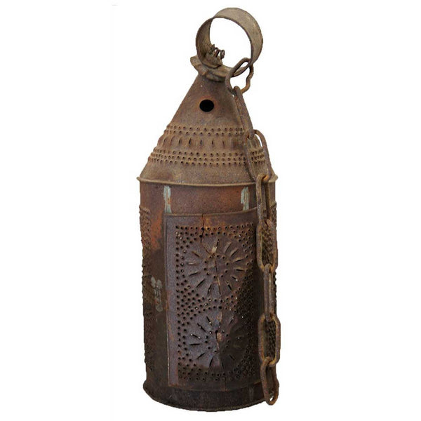 American Punched Tin Toleware Hanging Candle Lantern