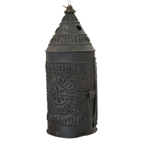 American Punched Tin Toleware Candle Lantern