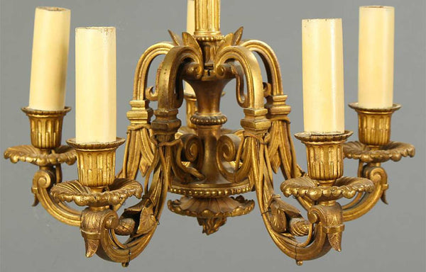 French Etruscan Revival Gilt Bronze Five-Light Chandelier