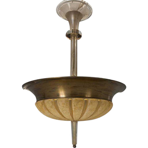 Swedish Art Deco Bronze and Cut Glass Six-Light Pendant Ceiling Light