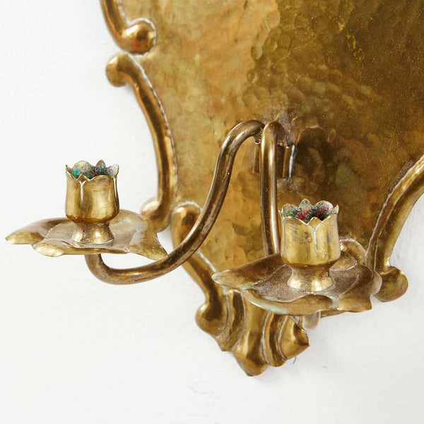 Pair of Swedish Grace Brass Two-Arm Candle Wall Sconces
