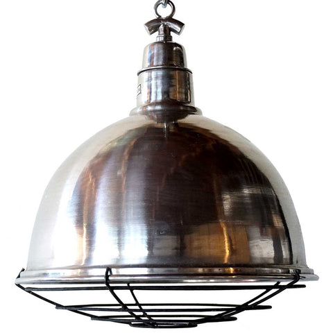 Vintage Style Industrial Aluminum and Iron Cage Domed Pendant Light