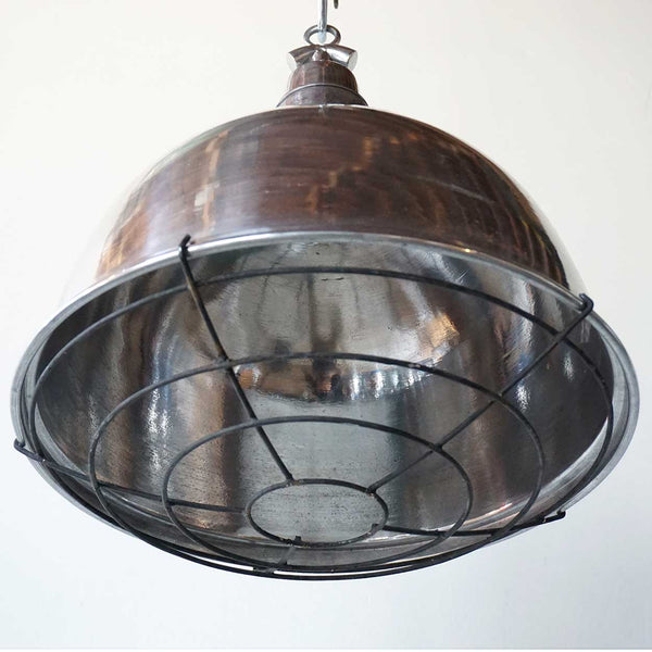 Vintage Style Industrial Aluminum and Iron Cage Domed Pendant Light (2 available)