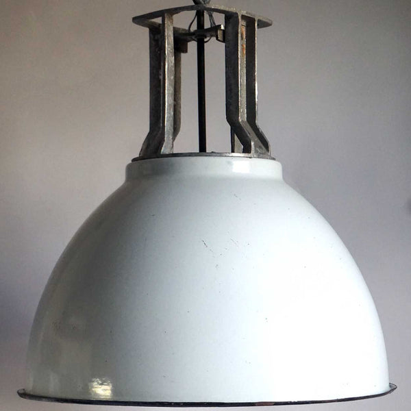 Vintage Industrial White Enamel Shade Hanging Pendant Light