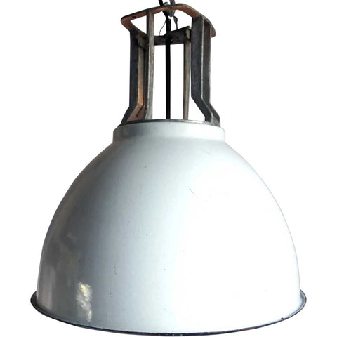 Vintage Industrial White Enamel Shade Hanging Pendant Light (2 available)