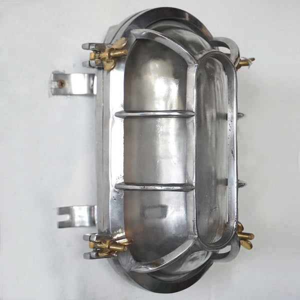 Medium Vintage Style Industrial Aluminum Caged Oval Wall or Ceiling Ship's Light