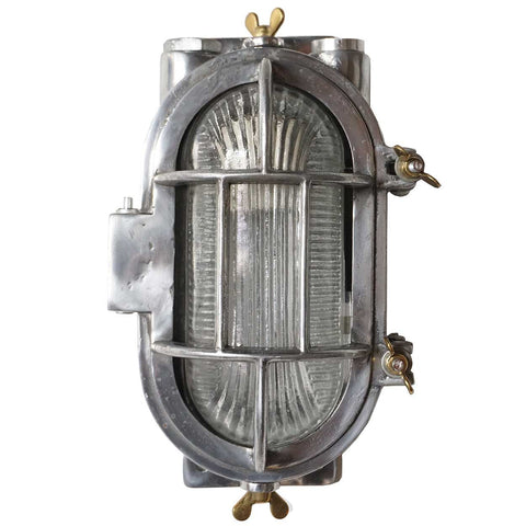 Vintage Style Industrial Aluminum Caged Oval Wall or Ceiling Ship's Light