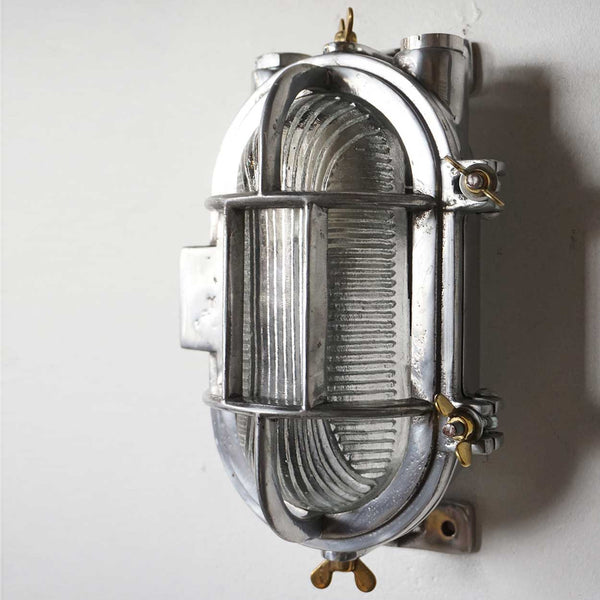 Vintage Style Industrial Aluminum Caged Oval Wall or Ceiling Ship's Light (13 available)