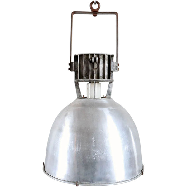 Vintage Industrial Aluminum Shade Caged Pendant Light