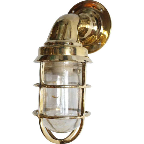 Vintage Style Brass Caged Swan Neck Ship's Passageway Sconce Light